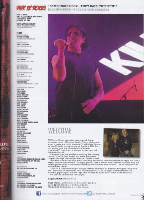 Killing Joke - Vive le rock magazine  Sept 2014