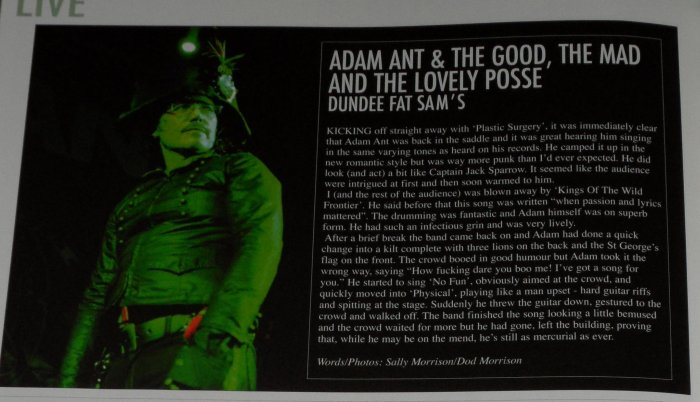 ADAM ANT - VIVE LE ROCK NO.4 REVIEW/PIC