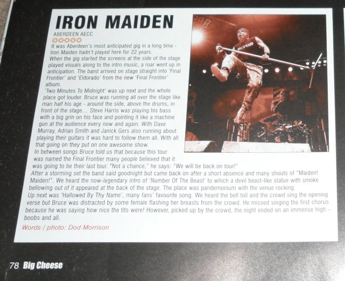 IRON MAIDEN - BIG CHEESE SEPT 2011 REVIEW/PIC