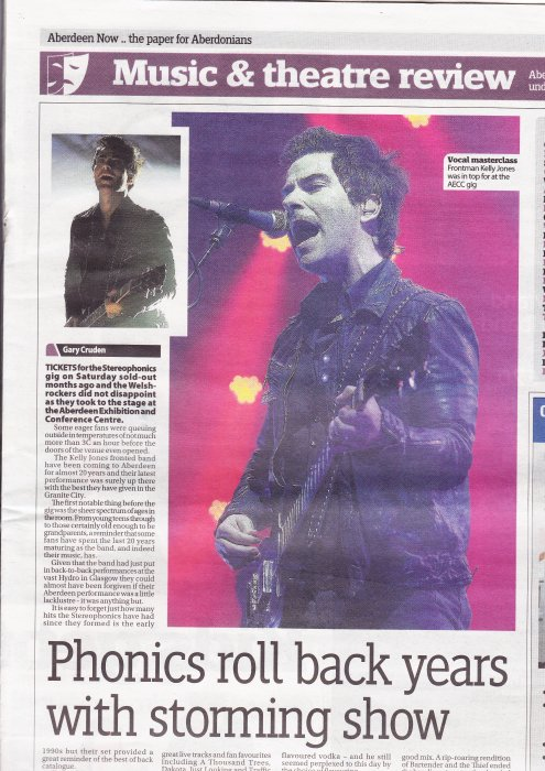 stereophonics aberdeen now Nov 2013